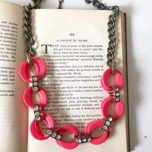 Jcrew pink links statement necklace